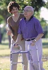Eldery man an caregiver