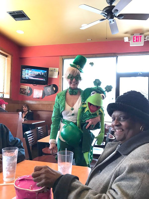 gail smith senior bingo dressed as a leprechaun
